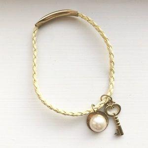 Pale yellow leather key & pearl charm bracelet